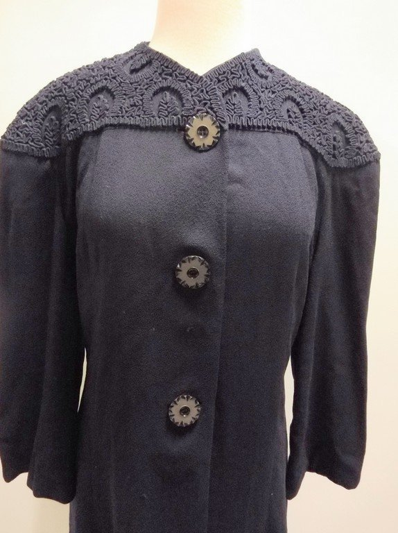 1940's Navy Blue Coat Dress - 2