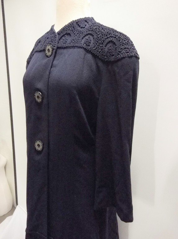1940's Navy Blue Coat Dress - 4