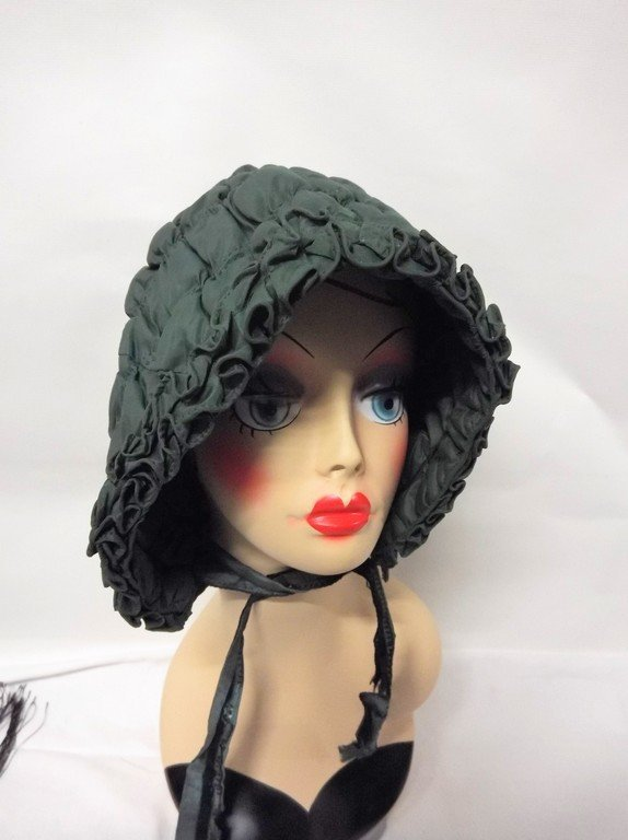 Early Civil War Era Quilted Bonnet in Green