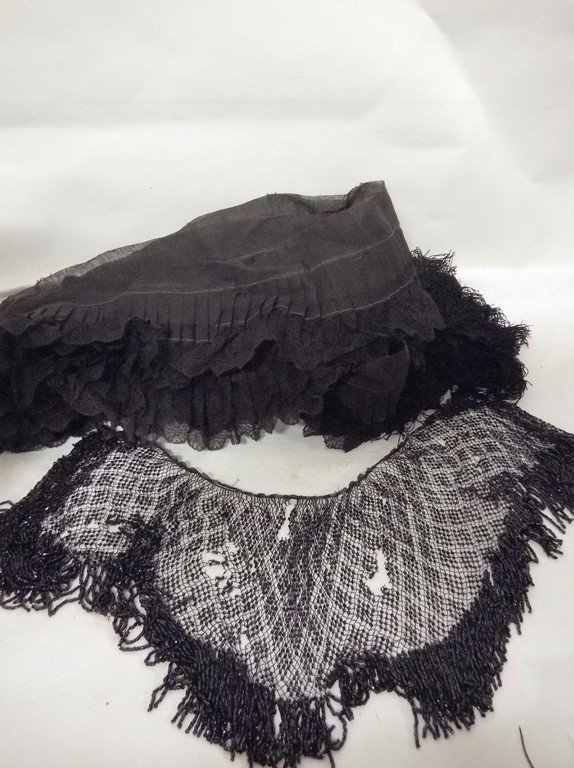 Lot of Early Lace Trim, Fringe & Beaded Shawl Collar