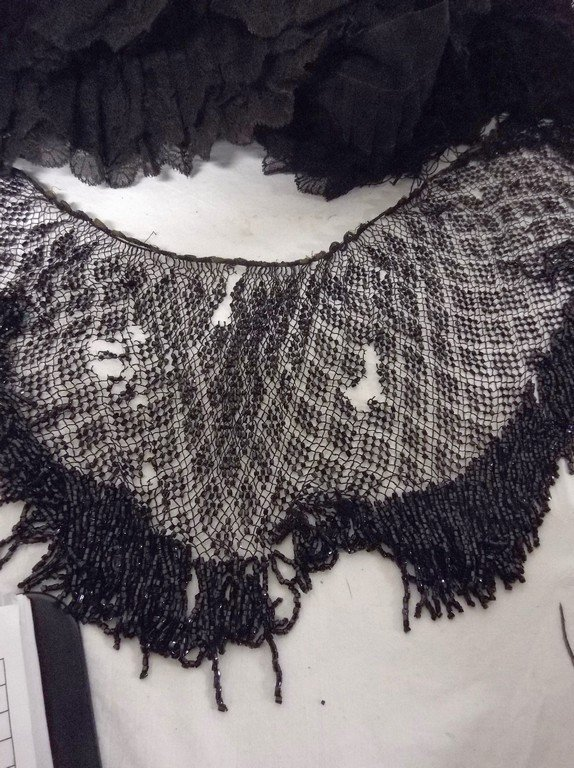 Lot of Early Lace Trim, Fringe & Beaded Shawl Collar - 3