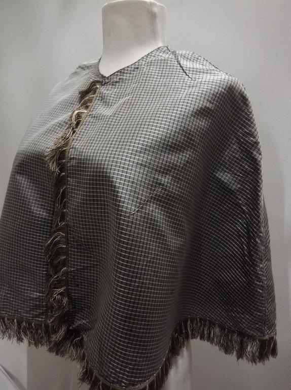 Civil War Era Silk Shawl with fringe Trim - 3