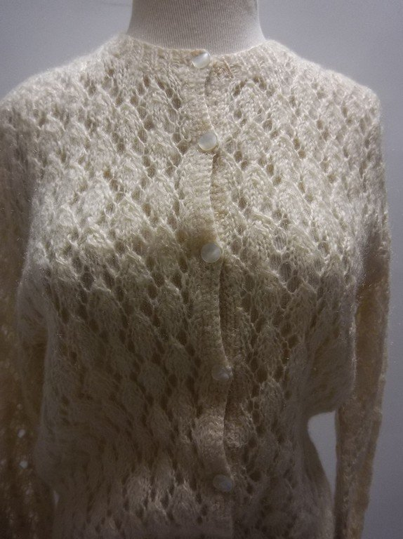 1950's Mohair Knit Cardigan Sweater - 2