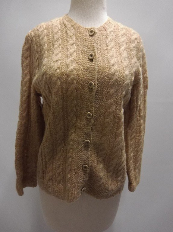 1950's Wool Mohair Cable Knit Cardigan Sweater
