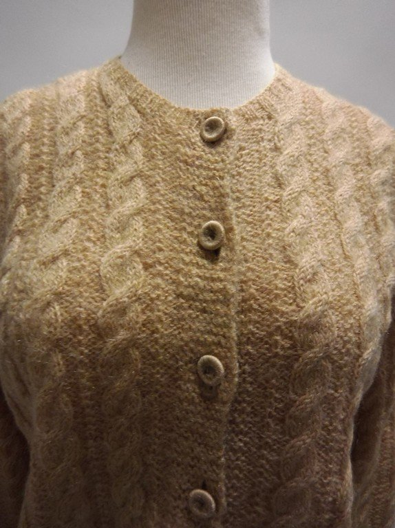 1950's Wool Mohair Cable Knit Cardigan Sweater - 2