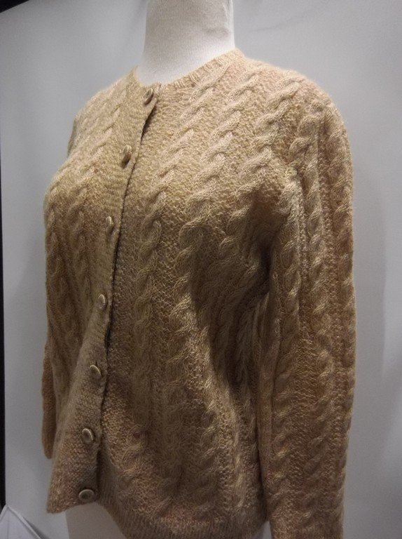 1950's Wool Mohair Cable Knit Cardigan Sweater - 3
