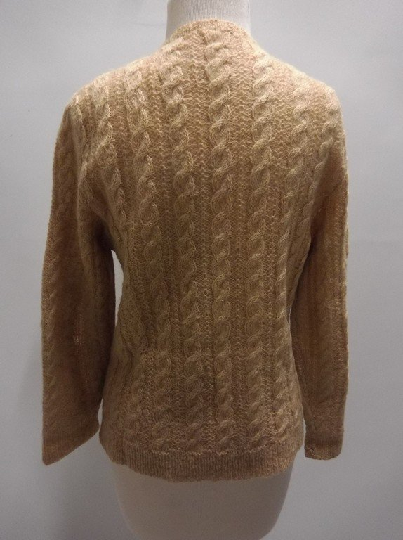 1950's Wool Mohair Cable Knit Cardigan Sweater - 4
