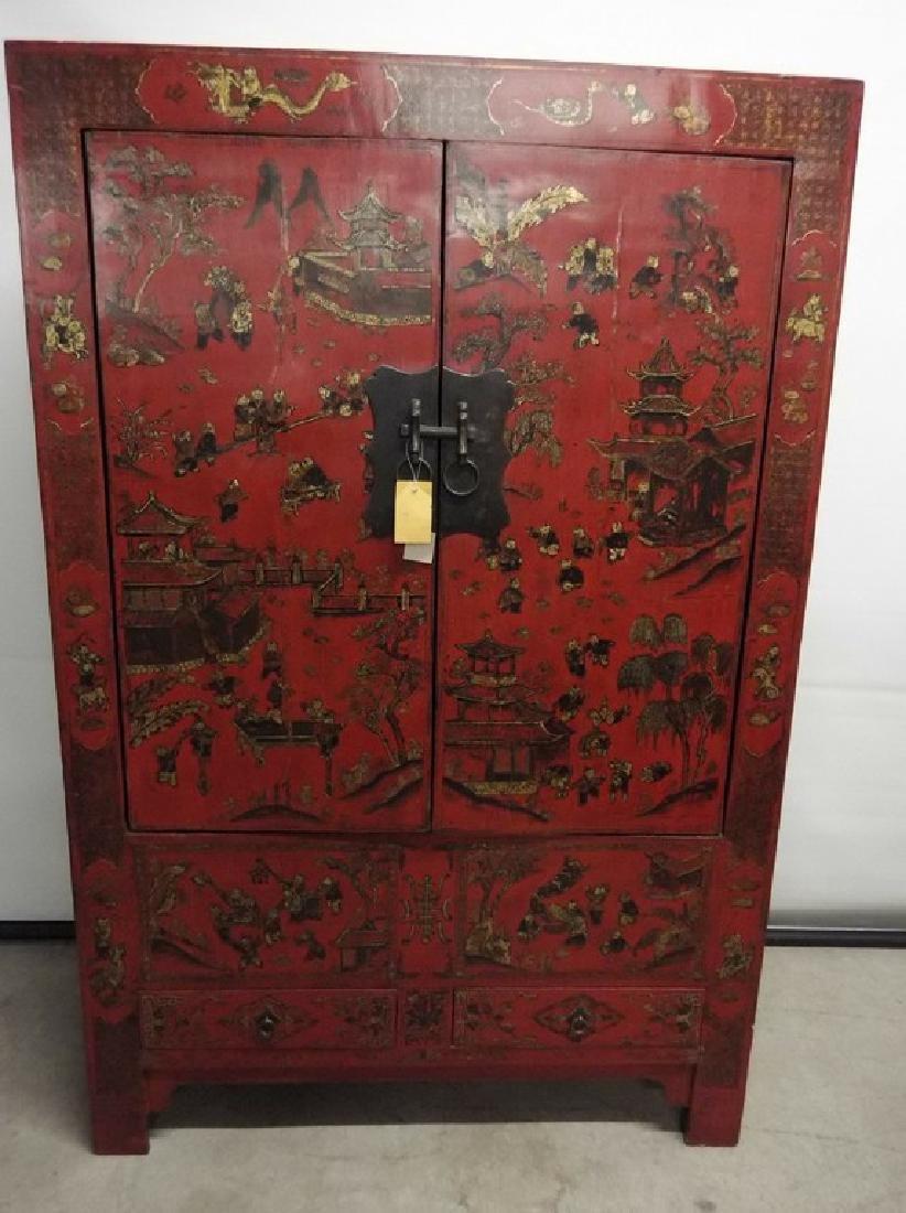 Large Chinese Double Door Wedding Cabinet/Wardrobe, r