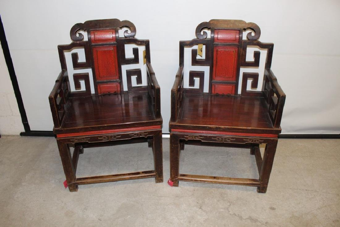 Pair of Asian Monk Chairs with Red Lacquer Backs, Hand