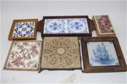 Lot of 6 Antique & Vintage Ceramic Tiles