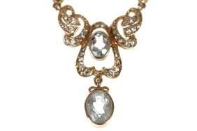 9 CT. GOLD AQUA MARINE AND DIAMOND NECKLACE
