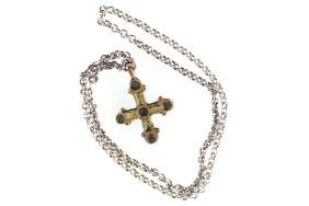 MEDIEVAL ENAMEL AND GILT CROSS
