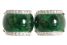 PAIR OF 18 CT. WHITE GOLD JADE AND DIAMOND EARRINGS