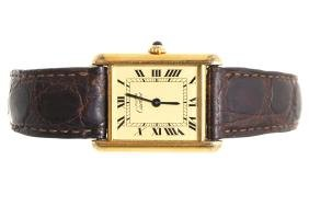 GENT'S CARTIER TANK QUARTZ WATCH WITH LEATHER STRAP