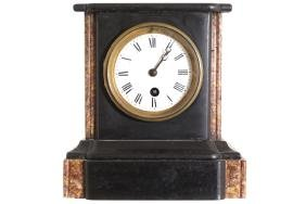 NINETEENTH-CENTURY BLACK AND SIENNA MARBLE MANTLE CLOCK