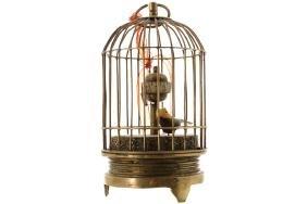VICTORIAN BRASS BIRD CAGE CLOCK