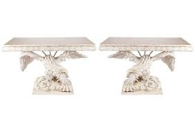 PAIR OF MONUMENTAL CARVED WOOD CONSOLE TABLES