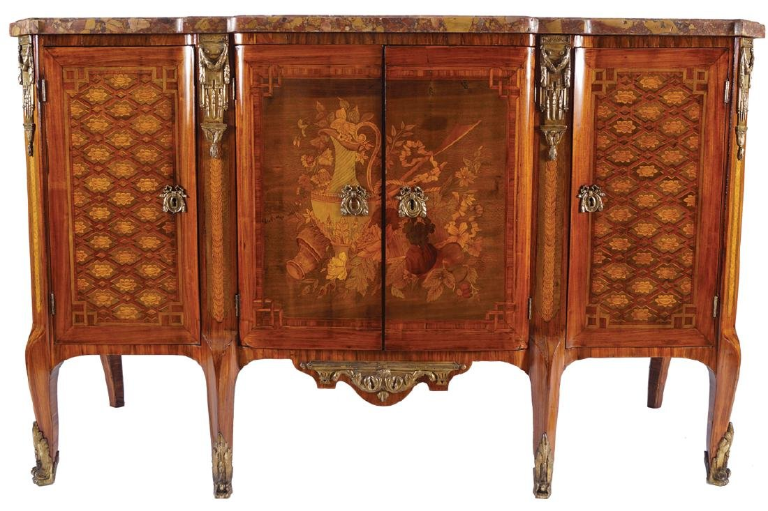 LOUIS XV PERIOD KINGWOOD, PARQUETRY AND MARQUETRY