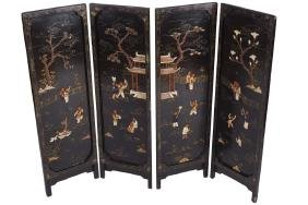 SET OF FOUR NINETEENTH-CENTURY CHINESE LACQUERED AND