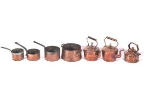 LOT OF THREE EARLY COPPER KETTLES AND FOUR SAUCE PANS