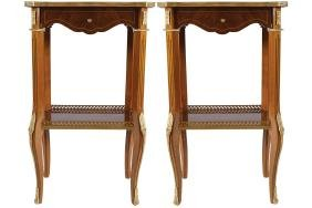PAIR OF BRASS MOUNTED WALNUT AND MARQUETRY  TABLES
