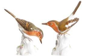 PAIR OF MEISSEN POLYCHROME BIRDS