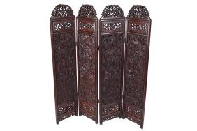 CHINESE QING PERIOD CARVED HARDWOOD FOUR FOLD SCREEN