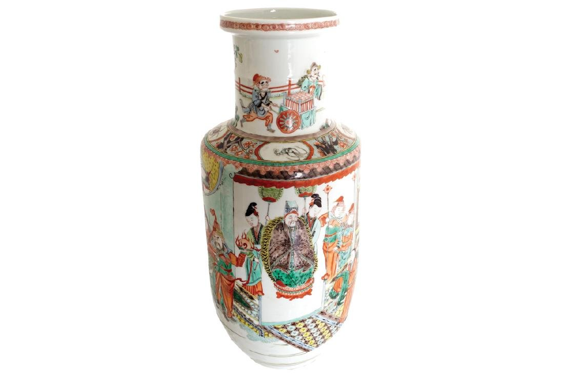 CHINESE QING PERIOD POLYCHROME ROULEAU VASE