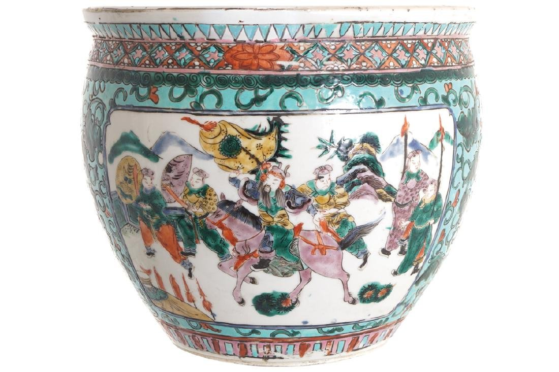 CHINESE QING PERIOD FAMILLE VERTE JARDINIERE