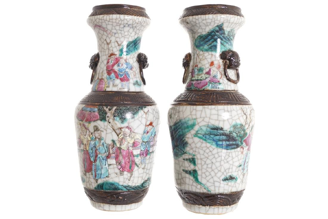 PAIR CHINESE QING PERIOD  CRACKLEWARE FAMILLE ROSE