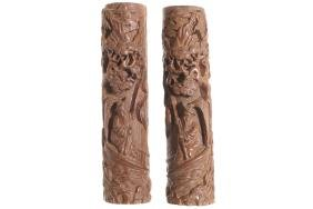 PAIR OF CHINESE CARVED HARDWOOD SCROLL WEIGHTS