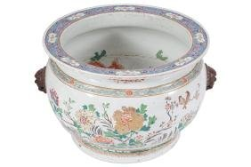 LARGE CHINESE QING PERIOD FAMILLE ROSE FISH BOWL