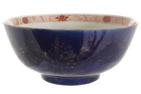 EIGHTEENTH-CENTURY CHINESE PARCEL GILT BLUE GROUND BOWL