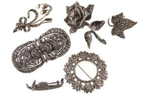 LOT OF SIX MARCASITE BROOCHES