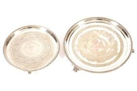 TWO NINETEENTH CENTURY SHEFFIELD  SERVING TRAYS