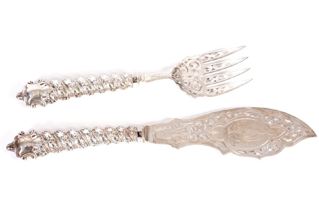 NINETEENTH CENTURY SHEFFIELD  ORNATE SERVING FISH KNIFE