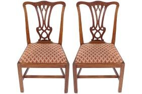 PAIR OF EIGHTEENTH-CENTURY MAHOGANY CHIPPENDALE CHAIRS,