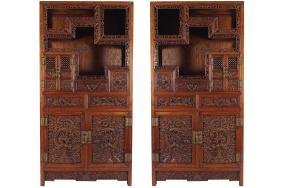 PAIR OF CHINESE QING PERIOD HARDWOOD CABINETS