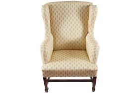 GEORGE III PERIOD MAHOGANY AND UPHOLSTERED WING BACK