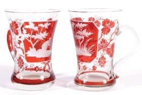PAIR OF BAVARIAN GLASS HUNTING MUGS