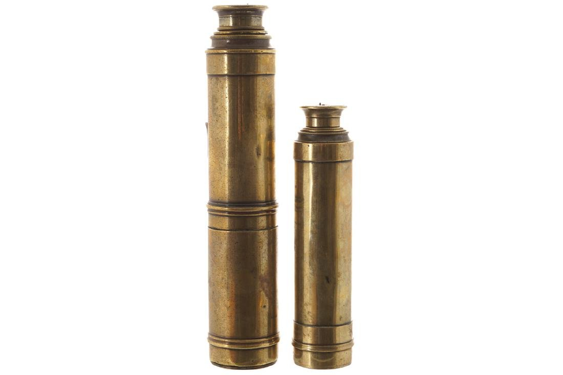 TWO NINETEENTH-CENTURY BRASS HUNTING SCOPES