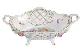 GERMAN PORCELAIN RETICULATED BASKET