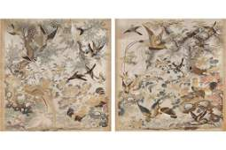 PAIR OF CHINESE QING PERIOD PAINTINGS ON SILK