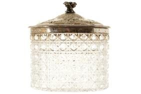 SILVER PLATED AND CRYSTAL BISCUIT BARREL