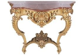NINETEENTH-CENTURY CARVED GILTWOOD CONSOLE TABLE