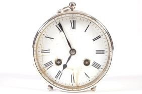 EDWARDIAN SILVER PLATED CASED TRAVELLING CLOCK
