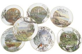 GROUP OF SEVEN LIMITED EDITION ROYAL WORCESTER PLATES