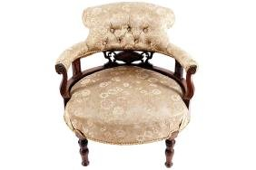 EDWARDIAN PERIOD ROSEWOOD AND MARQUETRY TUB ARMCHAIR