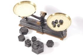VICTORIAN CAST IRON AND BRASS WEIGHING SCALES