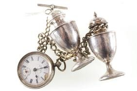 SILVER WATCH AND CHAIN